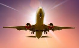 Atterrissage d'avion Photographie stock