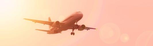 Atterrissage d'avion commercial Photo libre de droits