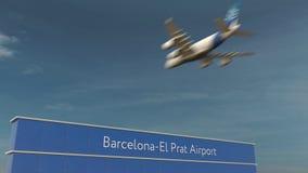 Atterrissage d'avion commercial au rendu de l'aéroport 3D du couillon Barcelone-EL Image libre de droits