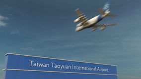 Atterrissage d'avion commercial au rendu de l'aéroport international 3D de Taïwan Taoyuan Photo stock