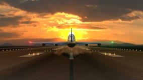 Atterrissage d'avion spectaculaire contre le coucher du soleil banque de vidéos