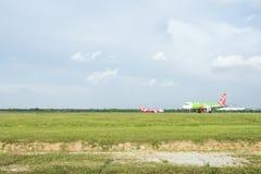 Atterrissage d'avions Photo libre de droits