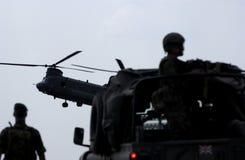 Atterrissage d'hélicoptère de Chinook Photos libres de droits