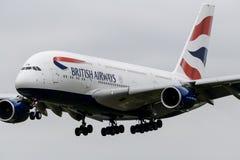 Atterrissage de British Airways Airbus A380 Images libres de droits