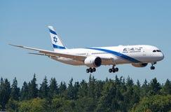 Atterrissage de dreamliner d'EL Al Israel Airlines First Boeing 787-9 Photo libre de droits