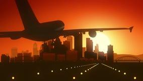 Atterrissage de lever de soleil d'horizon de Pittsburgh Pennsylvanie Etats-Unis Amérique illustration stock