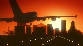 Atterrissage de lever de soleil d'horizon de Portland Orégon Etats-Unis Amérique photo stock