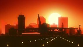 Atterrissage de lever de soleil d'horizon de Wichita le Kansas Etats-Unis Amérique illustration stock