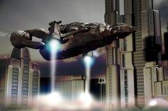 Atterrissage de navette dans la future ville illustration de vecteur