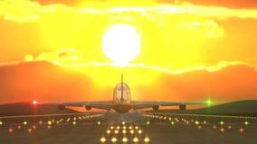 Atterrissage de porteurs contre le coucher du soleil attrapé par la caméra clips vidéos