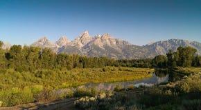 Atterrissage de Schwabacher - paysage grand de parc national de Teton Photographie stock libre de droits