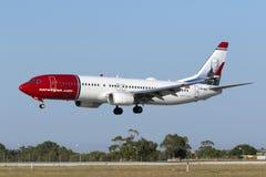 Atterrissage du Norvégien 737 Image libre de droits