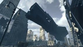 Atterrissage futuriste de vaisseau spatial de cargaison dans la ville apocalyptique rendu 3d Photographie stock