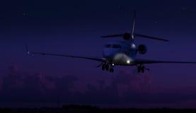 Atterrissage privé d'avion à réaction Photographie stock