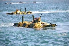 Atterrissages amphibies sur la côte images libres de droits