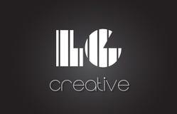 Atterrisseur L lettre Logo Design With White de G et lignes noires Photo libre de droits