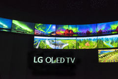 Atterrisseur Oled TV Photographie stock
