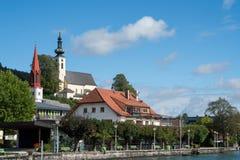 ATTERSEE, SALZKAMMERGUT/AUSTRIA - 9月18日:观点的伊娃 图库摄影