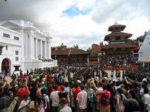 Attesa del Kumari a Katmandu Fotografia Stock