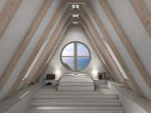 Attic bedroom interior. Fictitious 3D rendering of an attic bedroom with fantastic view Stock Photos