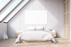 Attic bedroom, wooden floor Royalty Free Stock Images