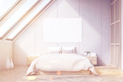 Attic bedroom, wooden floor, toned Royalty Free Stock Photography