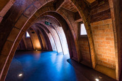 The attic of Casa Mila. Curved Arches in Attic of Casa Mila, Designed by Antoni Gaudi, a famous Tourist Destination in Barcelona, Spain royalty free stock photography