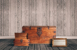 Attic with chest and mirror Stock Photos