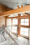 Attic floor of the house. overhaul and reconstruction. Working process of warming inside part of roof. House or stock photo