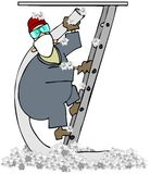 Attic Insulation. This illustration depicts a man on a ladder carrying a large hose to spray insulation into an attic Royalty Free Stock Photo