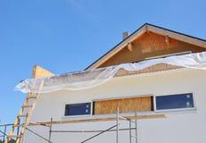 Attic Insulation. House Facade Construction Exterior Royalty Free Stock Image