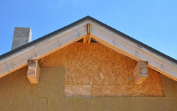 Attic insulation. New house wall facade insulation against blue sky. Royalty Free Stock Photo