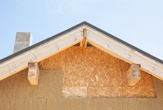 Attic insulation. New house wall facade insulation Royalty Free Stock Photos