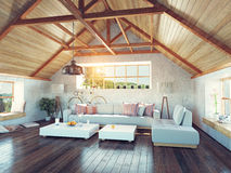 Attic interior. Stock Photo