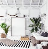 Attic interior design idea with hammock, scandinavian boho style. 3d render stock image