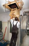Attic ladder mounting. A worker mounting a ladder leading to an attic royalty free stock images