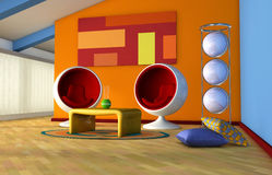 Attic living room. One 3d render of an attic living room with '70 furnitures Stock Photo