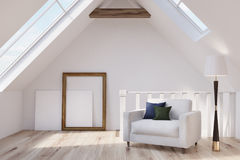 Attic living room, armchair, poster Stock Images