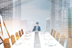 Attic meeting room, white ceiling, man Stock Photo