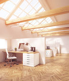 Attic office cubicles Royalty Free Stock Photography