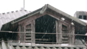 Attic old snowing stock footage