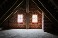 Attic space. Of the old house stock images