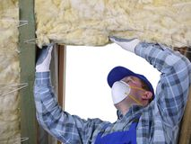 Attic thermal insulation Royalty Free Stock Photo
