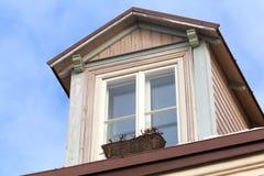 Attic window in old part of Tallinn Royalty Free Stock Image