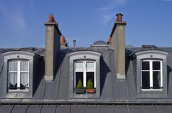Attic windows in Paris. Stock Photography
