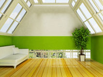 Attic with the windows and the plant Royalty Free Stock Photography
