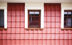 Attic with windows and red tile Royalty Free Stock Images