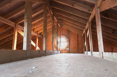 Attic wood construction Stock Photos
