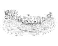 160 174 atticus odeon budujący herodes odeon athens Grecja Ręka rysujący nakreślenie również zwrócić corel ilustracji wektora Fotografia Royalty Free