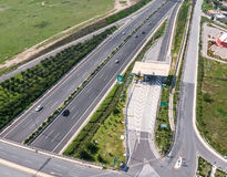 Attiki Odos, Attica Tollway road and toll station, Athens, Greec Stock Images